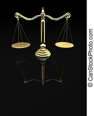 librascale - 3d rendered illustration of a golden scale