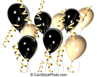 celebration balloons - 3d rendered illustration of ribbons...