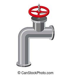 Pipe valve icon, cartoon style - Pipe valve icon. Cartoon...