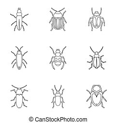 Order coleoptera icons set, outline style - Order coleoptera...