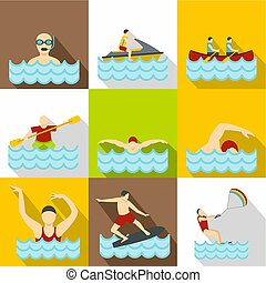 Active water sport icons set, flat style - Active water...