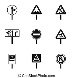 Sign icons set, simple style