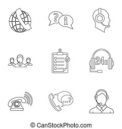 Support icons set, outline style - Support icons set....