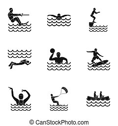 Active water sport icons set, simple style - Active water...