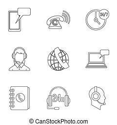 Online consultation icons set, outline style - Online...