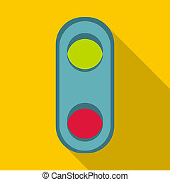 Semaphore traffic light icon, flat style - Semaphore...
