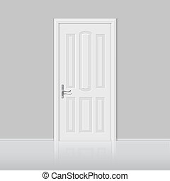 Closed white door with frame isolated