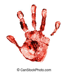 Spooky hand print isolated on white background