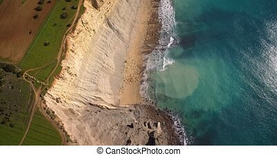 Aerial, Steep Cliff Line At Faro, Portugal - Graded and...