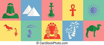 egypt flat design - set of icons in the style of a flat...