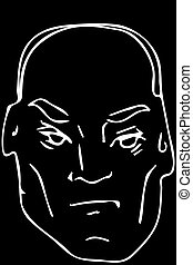 vector sketch of the face of the adult bald man - black and...