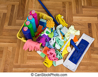 Cleaning supplies and equipment on floor - Top view of...