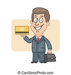 Businessman holding bank card and smiling - Illustration,...