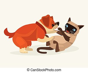 Cat and dog character fight. Vector flat cartoon illustration