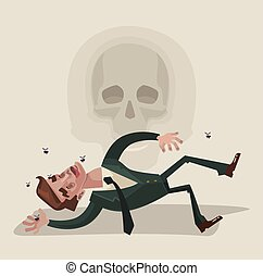 Dead office worker character. Vector flat cartoon...