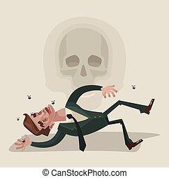 Dead office worker character. Vector flat cartoon...