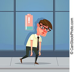 Tired man office worker character has no energy. Vector flat...