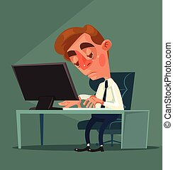 Tired office worker man character. Vector flat cartoon...