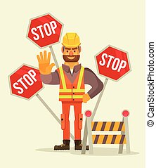 Happy smiling road worker man character show stop sign....