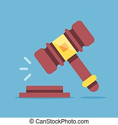 Gavel icon. Court, judgment, bid, auction concepts. Judge...