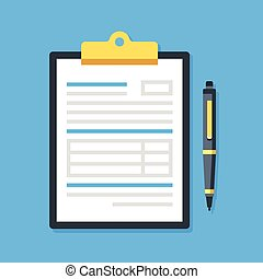 Clipboard with document and pen. Filling insurance claim form, paperwork, income tax form, write a report, business concepts. Premium quality. Modern flat design graphic elements. Vector illustration