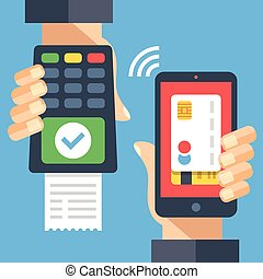 Hand holding payment terminal with green check mark and...