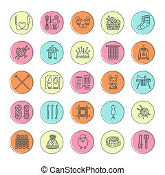 Knitting, crochet, hand made line icons set. Knitting needle, hook, scarf, socks, pattern, wool skeins and other DIY equipment. Linear signs set, logos with editable stroke for yarn or tailor store