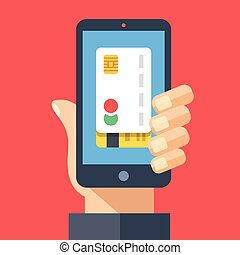 Credit card on smartphone screen. Hand holding smartphone....
