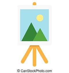 Wooden easel with blank space. Vector illustration. Isolated...