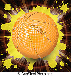 basketball - abstract illustration, basketball ball on dark...