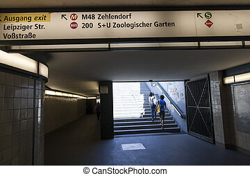 U-Bahn Station Exit and Signs - Exit from a U-Bahn station...