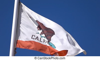 Two videos of california flag in real slow motion - Two high...