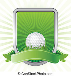 golf design element - golf,shield,green background