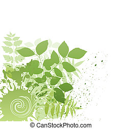 vector grunge nature leaf - vector illustration-grunge...