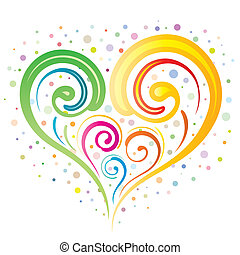 heart floral - vector illustration-colorful heart