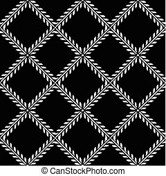 Vector Checkered Ivy Pattern - Vector floral pattern....