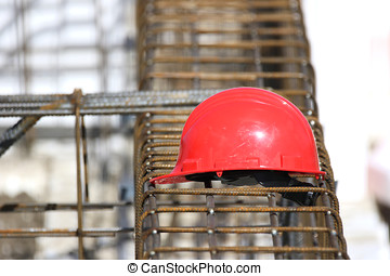 hard hat - red hard hat at construction site