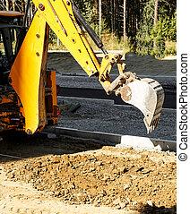 väg, utanför, konstruktion, arbete, grävmaskin