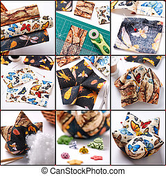 Step by step the production of patchwork pin cushion in the...