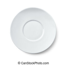 Top view of ceramic saucer isolated on white