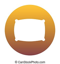 Pillow sign illustration. White icon in circle with golden...