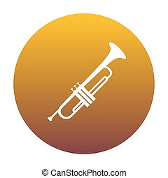 Musical instrument Trumpet sign. White icon in circle with...