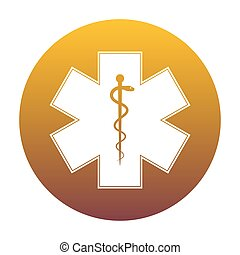 Medical symbol of the Emergency or Star of Life. White icon in c