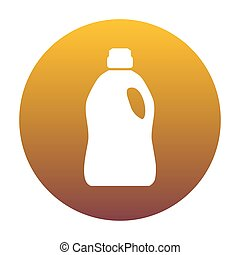 Plastic bottle for cleaning. White icon in circle with...