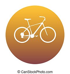 Bicycle, Bike sign. White icon in circle with golden gradient as