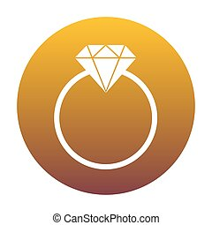 Diamond sign illustration. White icon in circle with golden...