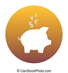 Piggy bank sign with the currencies. White icon in circle with g