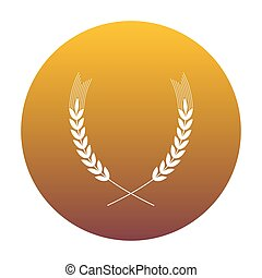 Wheat sign illustration. White icon in circle with golden gradie