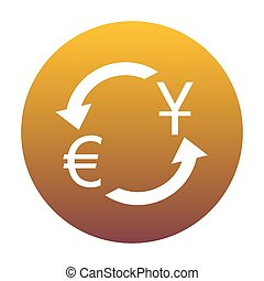 Currency exchange sign. Dollar and Euro. White icon in circle wi