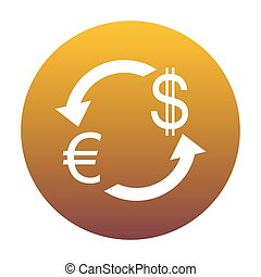 Currency exchange sign. Euro and Dollar. White icon in circle wi
